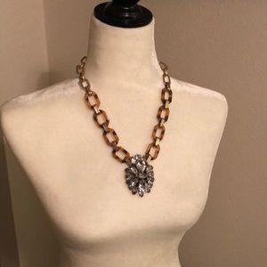 Tortoiseshell gold & rhinestone statement necklace